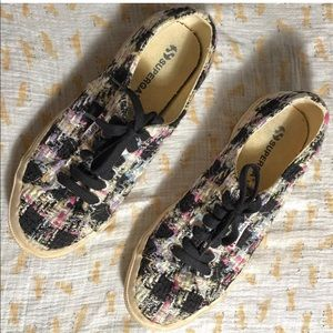 Superga black multi color tweed lace up sneakers